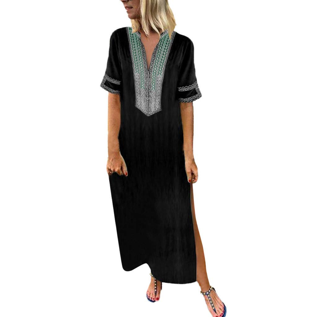 Shusuen Women Bohemian Casual Loose Vintage Printed Ethnic Style Summer Shift Dress Short Sleeve Split Maxi Tunics Black
