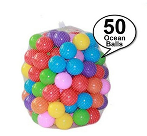 50 Pcs Colorful Soft Plastic Water Pool Ocean Wave Ball Outdoor Baby Fun Ball Pit Kids Anti-Crush Plastic Ball Toys size 4.5 (Water Pit)