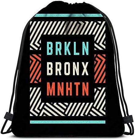 Randell Gym Drawstring Backpack Sport Bag Districts of New York Brooklyn Bronx Manhattan Lightweight Shoulder Bags Travel College Rucksack for Women Men