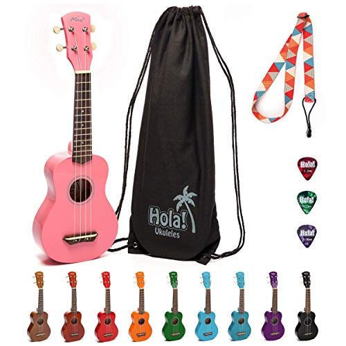 Hola! Music HM-21PK Soprano Ukulele Bundle with Canvas Tote Bag, Strap and Picks, Color Series, Pink ()