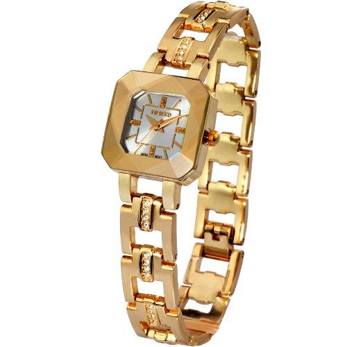 Time100 Women's WatchesBracelet Diamond Oval Dial Ladies Fashion Dress Wrist watch (Gold Plate Diamond Watch)