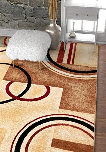 rcs & Shapes Ivory Modern Geometric Area Rug 6'7'' X 9'6'' (Geometric Pattern Rugs)