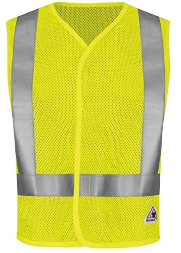 Bulwark Flame Resistant 6.5 oz Modacrylic/Aramid Hi-Visibility Regular Mesh Safety Vest, Yellow/Green, Medium