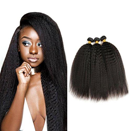 Brazilian Kinky Straight Virgin Hair 3 Bundles Yaki Straight Human Hair Extensions Can Be Dyed Color - Natural Black (14 16 18)
