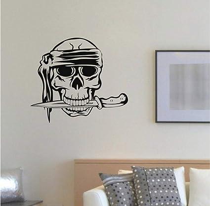 Meaosy Extraíble Tatuajes De Pared Pirata Cráneo Cuchillo ...