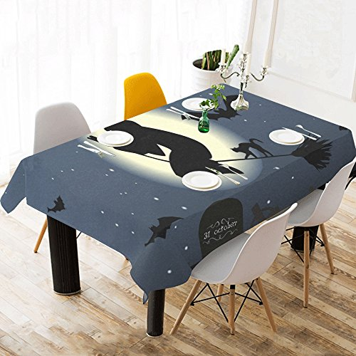 TIANYUSS Halloween The Witch Hexenbesen Cat Moon Unique Cotton Linen Tablecloth 60