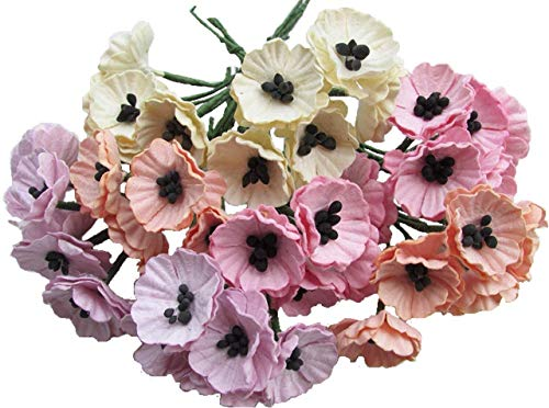 40 pcs Pastel Poppy Mulberry Paper Flower 20-25 mm scrapbooking wedding doll house supplies card
