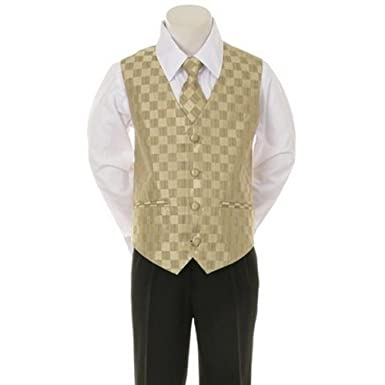 b0f78ee7f Amazon.com: Kid's Dream Gold Checkered Vest Formal Special Occasion ...