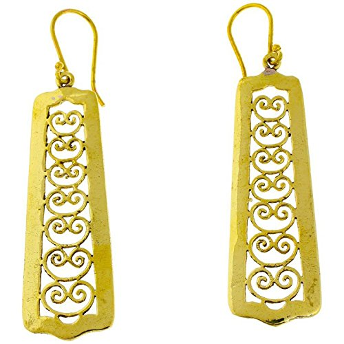 (Earrings long spiral arches square antique brass golden nickel free Tribal Brass Earrings)