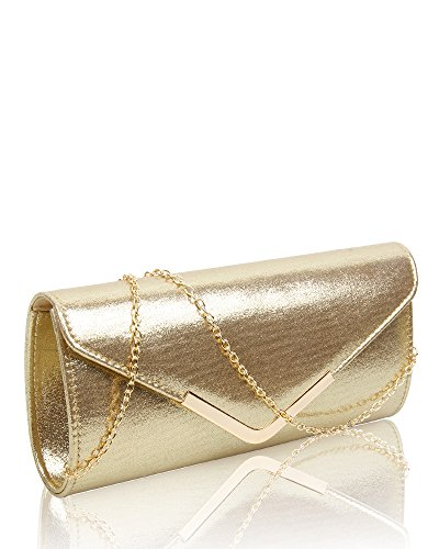 Sparkling Fashion Party Glitter Bag Shiny Bag amp; Gold Diamante Home Evening Gold 15 Crystals Women's Clutch Bridal Wedding Prom 5IfSq