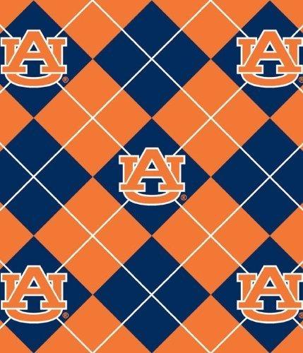 College University of Auburn Tigers Argyle Print Fleece Fabric By the Yard