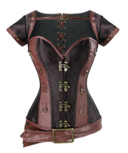 Charmian Women's Spiral Steel Boned Steampunk Retro Brocade and Leather Overbust Corset with Jacket and Belt Light-Brown Small -