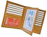 RFID Blocking Bifold Hipster Multi Credit Card ID Holder Wallet Premium Leather (Tan)