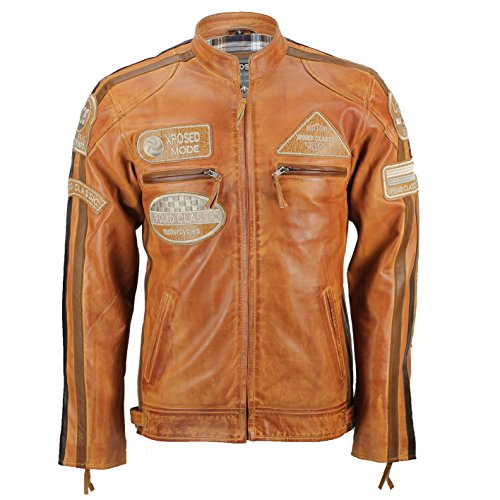 Xposed – Real suave piel Fitted Carreras Biker chaqueta Vintage Urban Retro Look Herrumbre
