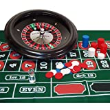 Deluxe 18 Inch Wheel Roulette Set - Comes with Layout, 100 Chips, Marker and 2 Balls