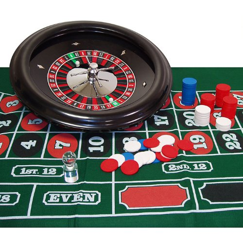 Deluxe Roulette Set - Deluxe 18 Inch Wheel Roulette Set - Comes with Layout, 100 Chips, Marker and 2 Balls