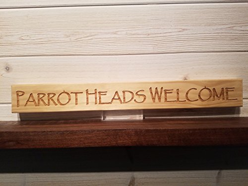 Parrot Heads Welcome Wall Plaque Laser Engraved Personalized Custom Beach Sign 162 by SignsByAllSeasons