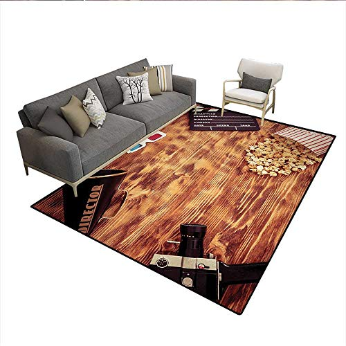 Carpet,Retro Cinema Objects on a Wooden Table Top View Analog Vintage Technology,Customize Rug Pad,MulticolorSize:6'x7'