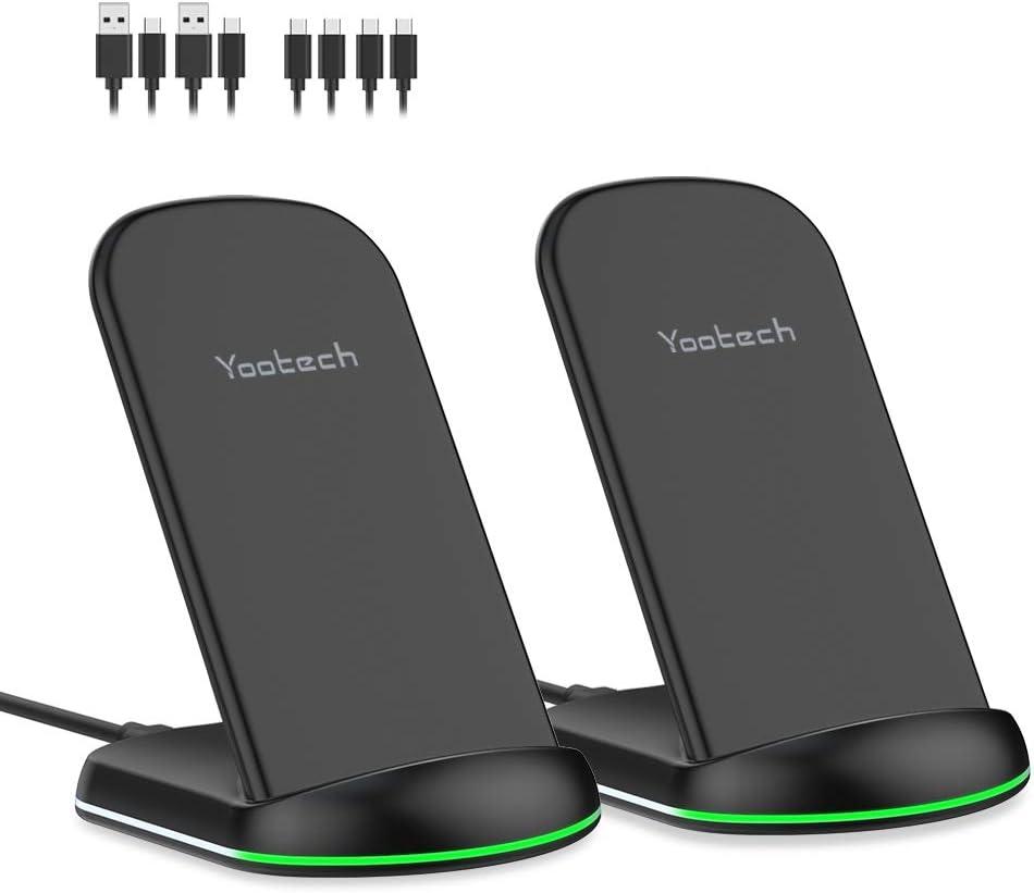 yootech Cargador Inducción Rápido, 2 Pack 10W Carga Inalámbrica para Galaxy S20/Note 10/S9/S9+/Note 8/S8/S8+/S7/S6, Qi 7.5W para iPhone SE 2020/11/11 Pro/11 Pro MAX/XS MAX/XR/XS/X/8+/8(No Adaptador)