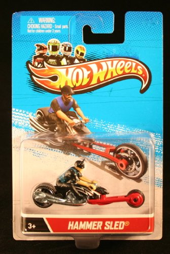 HAMMER SLED (Black & Red) * MOTORCYCLE & RIDER * Hot Wheels 1:64 Scale 2012 Die-Cast Vehicle