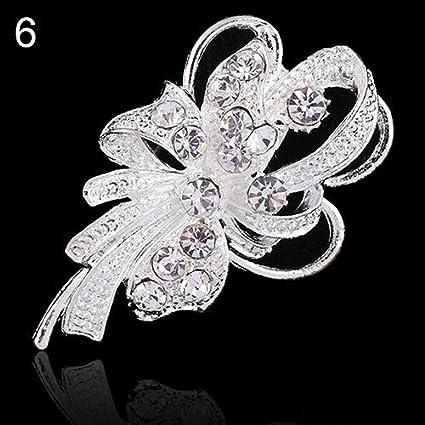 3256f4fec31 Holrea Fashion Bouquet Rhinestone Crystal Flower Brooches Pins Silver Pearl  Elegant Floral Design Brooches Wedding Bridal