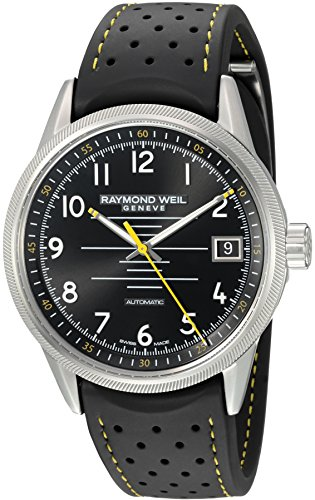 Raymond-Weil-Mens-Freelancer-Swiss-Automatic-Stainless-Steel-and-Rubber-Casual-Watch-ColorBlack-Model-2754-SR-05200