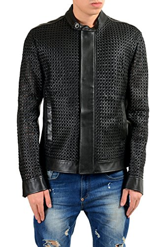 Versace Collection Men's 100% Leather See Through Full Zip Jacket US L IT - India Clothing Versace