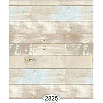 Dollhouse 1:12 Scale Wallpaper Reclaimed Wood Floor Blue on Beige