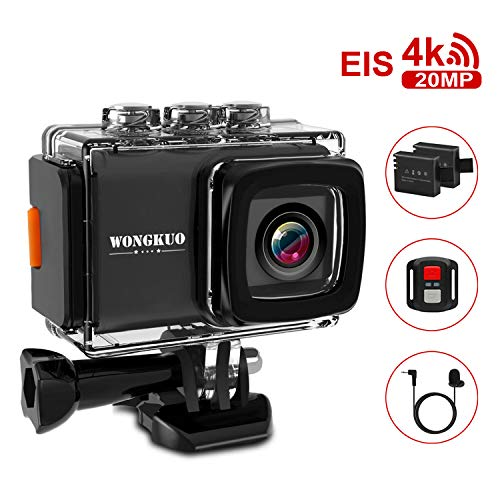 UPGRADED WONGKUO Action Camera Ultra HD 4K 20MP EIS Anti-shake Sport Camera 98ft Waterproof 170°Wide-Angle WiFi Camcorder with External Microphone & Remote Control & Mounting Accessories Kit(Standard)