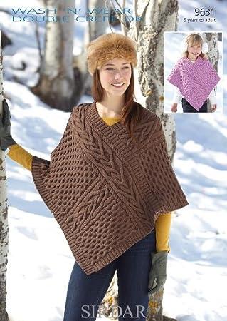 Sirdar Wash n Wear DK Women's & Girl's Poncho Knitting Pattern 9631