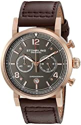 Stuhrling Original Men's 'Aviator' Quartz Stainless Steel and Brown Leather Dress Watch (Model: 583.03)