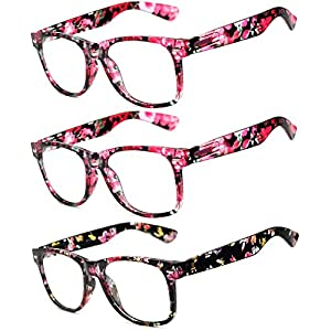 OWL - Non Prescription Glasses for Women and Men - Clear Lens - UV Protection (Floral_Red_3Pairs, Clear)