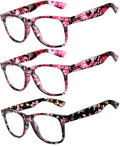 on Glasses for Women and Men - Clear Lens - UV Protection (Floral_Red_3Pairs, Clear) ()