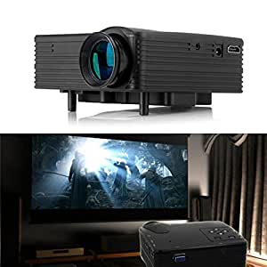 ARBUYSHOP Negro H100 mini LED ayuda del proyector HDMI / AV / VGA / USB portátil HD / SD Proyector de Beamer del teatro casero del juego video de TV jugador Projetor