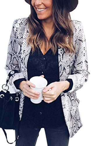 Top Print Snakeskin (Angashion Womens Casual Long Sleeve Snakeskin Print Open Front Office Blazer Suit Jacket Coat 241 White L)