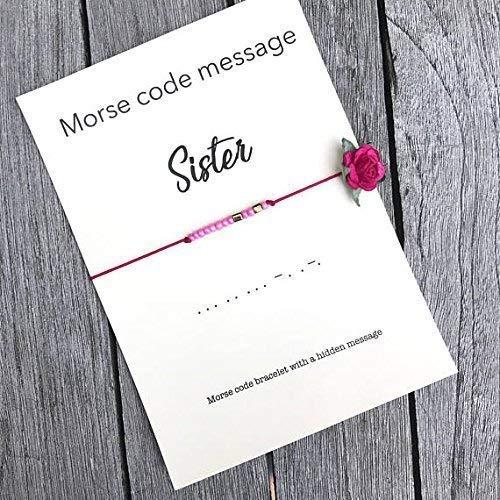 Morse Code SISTER Bracelet Seed Bead Gift Sister Birthday