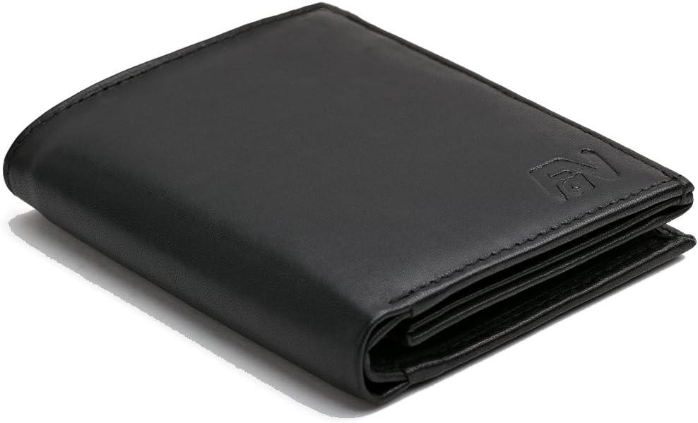 PORTAFOGLIO Libro Formato Verticale LEAS Vera Pelle- tessera cartella Portafoglio Nero