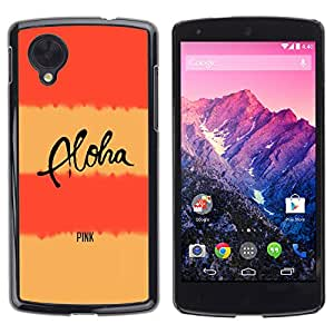 Ziland / Slim Design Case Cover Shel / Aloha Text Lines Yellow / LG Google Nexus 5 D820 D821