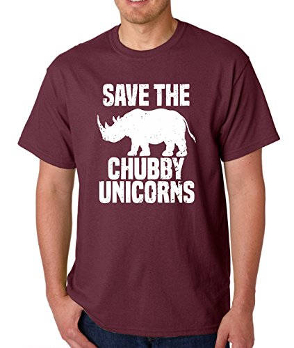 AW Fashion's Save The Chubby Unicorn Premium Men's T-Shirt (Large, Maroon)