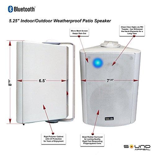 Bluetooth 5.25 Indoor/Outdoor Weatherproof Patio Speakers (White- pair)-by Sound Appeal