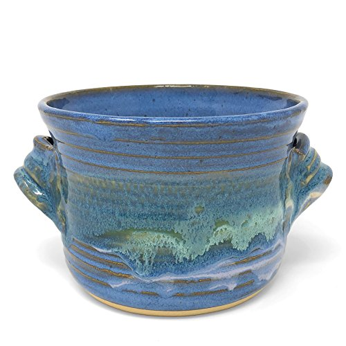 - Mosquito Mud Pottery Bread Baker Deep Dish Casserole with Handles, Blue