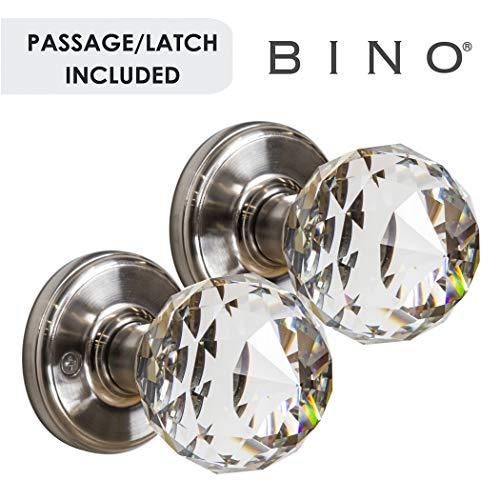 BINO Crystal Functional Interior Door Knobs Set - Satin Nickel - Crystal Door Knobs Interior Crystal Knobs Door Knob