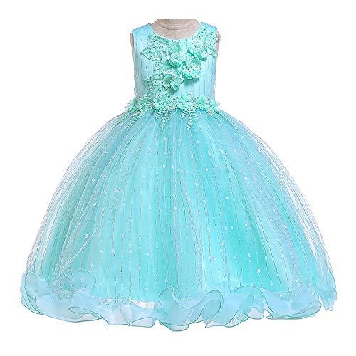 Little Girls Dresses Pageant Dresses for Girls Embroidered Green Elegante Kids Wedding Dress Green 5t 6t M09B140