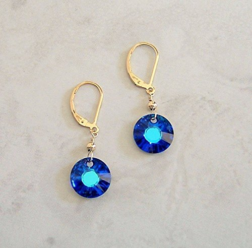 Filled Gold Disc (Blue Sun Disc Crystal Gold Filled Leverback Earrings Teen Girl Women Graduation Mothers Day Gift Idea)