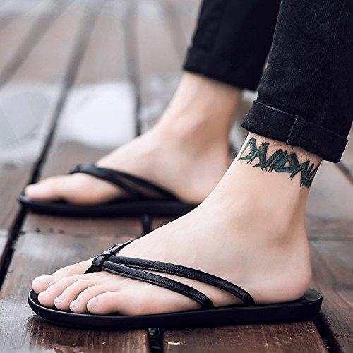 Xing Lin Sandalias De Hombre Flip-Flop Verano Hombre De Inglaterra Sandalias Clip Nuevo Cool Antideslizante Sandalias Zapatos Tendencia 40 Black