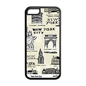 New York City Collage Design Solid Rubber Customized Cover Case for iPhone 5c 5c-linda84
