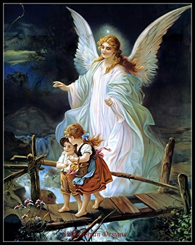 Zamtac Needlework for Embroidery DIY DMC - Counted Cross Stitch Kits 14 ct Oil Painting - Guardian Angel and Children Crossing Bridge - (Cross Stitch Fabric CT Number: 14CT)