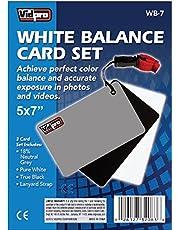 "Vidpro WB-7 5""x7"" Inch White Balance 3 Card Set with Lanyard Strap- Grey, Black, White in Blister"