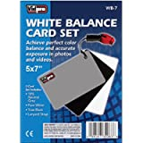 Vidpro WB-7 5'x7' Inch White Balance 3 Card Set with Lanyard Strap- Grey, Black, White in Blister