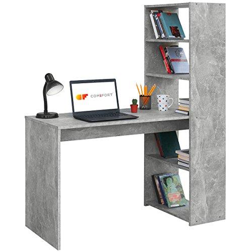 COMIFORT Escritorio con Estanteria - Mesa de Estudio con Libreria de Estructura Firme, Moderna y Minimalista con 4 Baldas Espaciosas y de Gran Capacidad, Color Stone